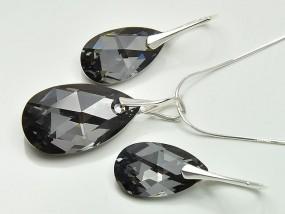 Kryształy Swarovski biżuteria srebrna migdał Silver Night