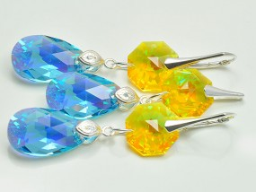 Srebrna biżuteria Swarovski kryształy Migdał Octagon Aquamarine