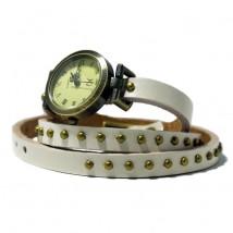 Zegarek skórzany na pasku JQ - biały - damski