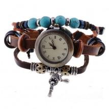 Zegarek skórzany na pasku - brązowy - damski
