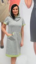 Modna popielata sukienka damska  z kapturem