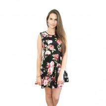 Sukienka w kwiaty, czarna, mini, na lato
