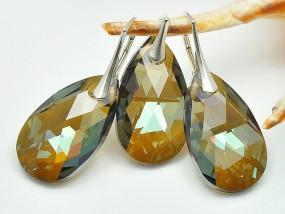 Srebrna biżuteria Swarovski kryształy migdał Bronze Shade