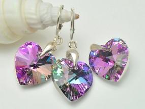 Srebrny komplet Swarovski kryształy serce Vitrail Light