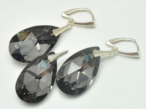 Srebrna biżuteria Swarovski migdał 28 mm Silver Night