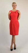 Z czerwonej cienkiej wełny modna sukienka do biura