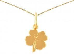 Złoty komplet biżuterii 585 łańcuszek + przywieszka koniczynka 14kt 10108
