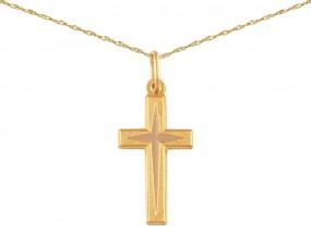 Złoty komplet biżuterii 585 krzyż łańcuszek singapur gratis 14kt 10106