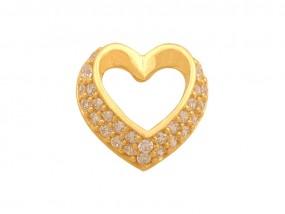 Złota przywieszka 14k przewlekane serce cyrkonie serduszko 585 9976