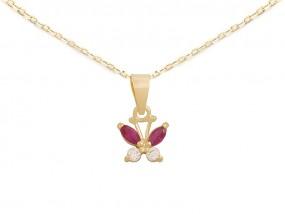 Złoty komplet biżuterii 585 motylek z cyrkoniami łańcuszek ankier -30% 7623