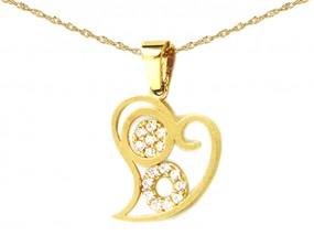 Złoty komplet biżuterii serce 585 serduszko z cyrkoniami łańcuszek -% 7603