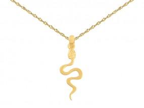 Złoty komplet biżuterii 585 wąż wisiorek + łańcuszek singapur 7583
