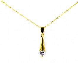 Złoty komplet biżuterii 585 biała łezka sopelka 14kt migdał 9537