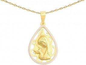 Złoty komplet biżuterii 585 medalik kropla Matka Boska komunia -30% 7586