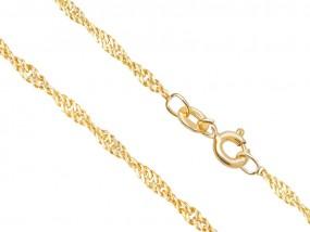 Złoty łańcuszek 585 singapur 45cm z białym złotem prezent pudełko 10306