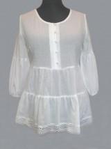 Bawełniana biała wizytowa damska bluzka z koronką - Kora