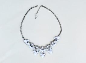 Biżuteria Signora - Naszyjnik kolia kryształy kamienie kolor biały