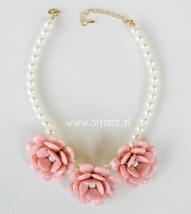 Biżuteria Signora - Naszyjnik duże różowe kwiaty na perłach moda, kobieta