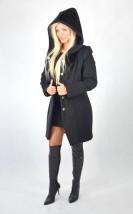 Wełniany czarny płaszcz damski z kapturem Tulipan