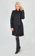 Damski ciepły płaszcz z czarnej wełny - Emilia