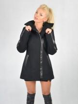 Długa wełniana kurtka damska z czarnej wełny - Mejra