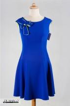Cudowna rozkloszowana szafirowa sukienka De Marco