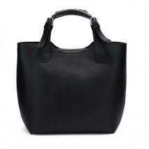 Modny shopper Czarny 1170142-01 skóra naturalna, czarny, mieści format A4