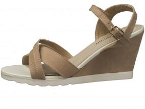Zamszowe sandały na koturnie LEI-92