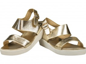 Sandały damskie na platformie złote, srebrne i czarne MJ1352
