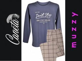Bawełniana Piżama MĘSKA Don't Stop Don't Stop - niebieski