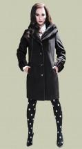 Czarny zimowy płaszcz damski z szalowym kołnierzem - Wiktoria