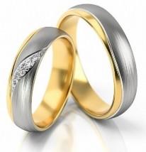 Piękne obrączki z białego i żółtego złota w macie S283