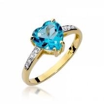 Zachwycający złoty pierścionek z topazem i diamentami BD-W31T