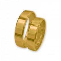 Ponadczasowe klasyczne obrączki z żółtego złota z fazowaniem. J019
