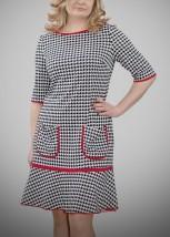 Sukienka damska codzienna w biało-czarną kurzą stopkę - LAURA