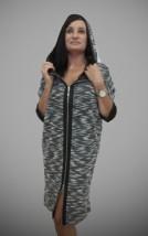 Modna  w szarym melanż sukienka płaszczowa do biura zapinana suwakiem - Ilona