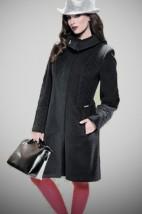 Weniany elegancki paszcz damski w kolorze czarnym - Syntia