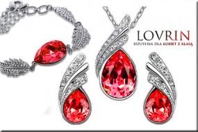 Srebrny komplet biżuterii czerwone cyrkonie rubin kropla migdał Z456