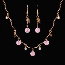 Złoty komplet biżuterii różowy kamień kryształ cyrkonia Z723