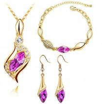 Złoty komplet biżuterii różowe cyrkonie krople łzy Odyna migdał  hit Z710