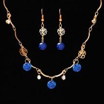 Złoty komplet biżuterii szafir cyrkonie niebieskie ażurowe róże Paris Z721