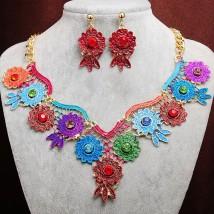 Złoty komplet biżuterii kwiaty cleo kolia Nowość oryginalny zestaw Z716