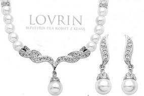 Srebrny komplet biżuterii białe perły królewska kolia cyrkonie Z417