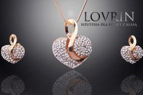 Złoty komplet biżuterii serca cyrkonie białe serduszka modne paris Z343
