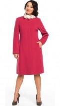 Czerwony wełniany elegancki płaszcz damski bez kołnierza