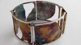 Unikatowa bransoletka z liścia w srebrze