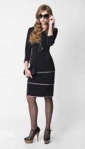 Czarna ze skórzanymi wypustkami elegancka sukienka biurowa