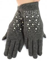 NOWE ocieplane rękawiczki, cyrkonie + dżety