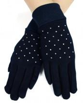 NOWE ocieplane rękawiczki z cyrkoniami