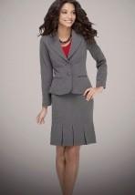 Elegancki biurowy kostium ze spódnicą w kolorze szarym